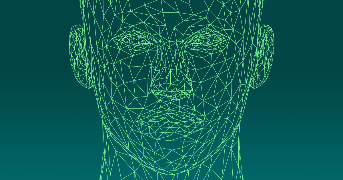low poly female head wireframe - source : GDJ / openclipart