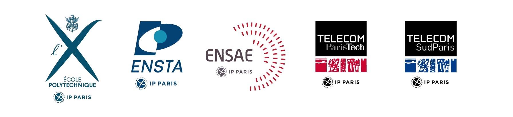 Les 5 écoles IP Paris : Polytechnique, ENSTA, ENSAE, Télécom ParisTech, Télécom SudParis