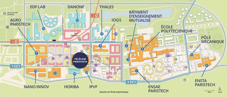 Le quartier de l'École polytechnique à Palaiseau - plan : Olaf Avenati