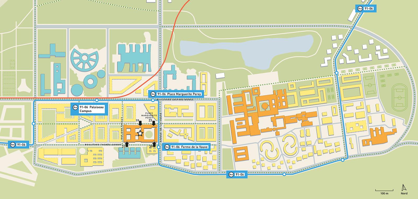 Plan de sitution Télécom Paris à Palaiseau