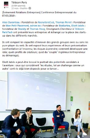 Conférence entrepreneuriat 07/05/2019