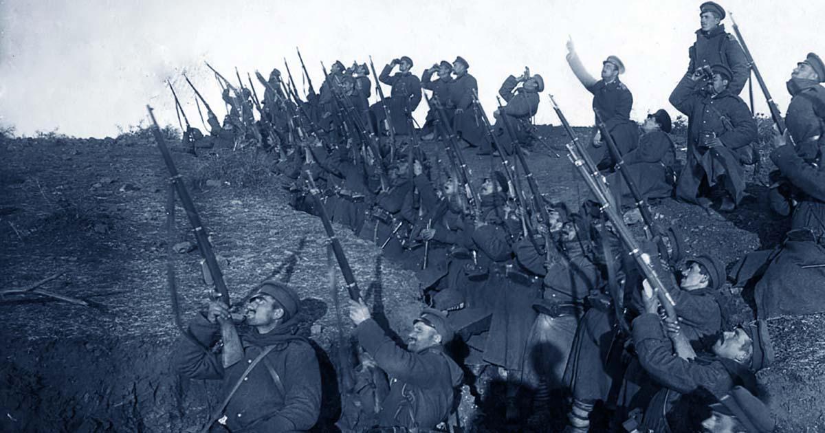 Soldats dans une tranchée de la 1re guerre mondiale