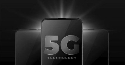 5g wireless internet technology with realistic smartphone mobile