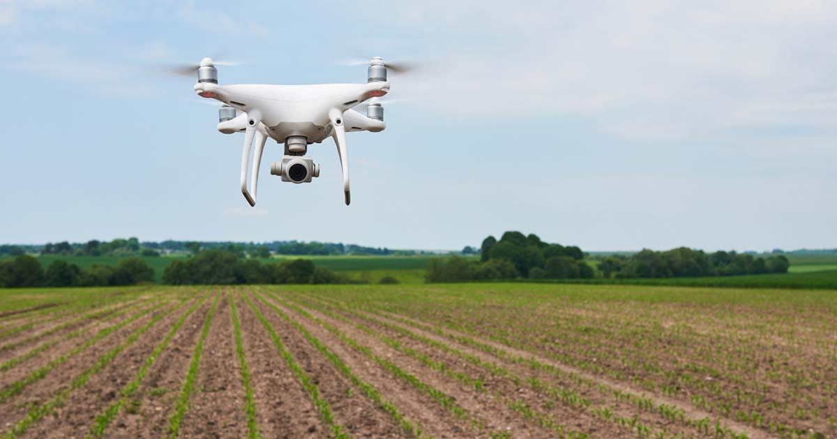 Drone sur champ agricole Standret/Freepik