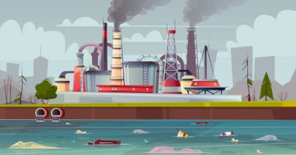 Vector ecology concept. Water pollution. Factory plant.