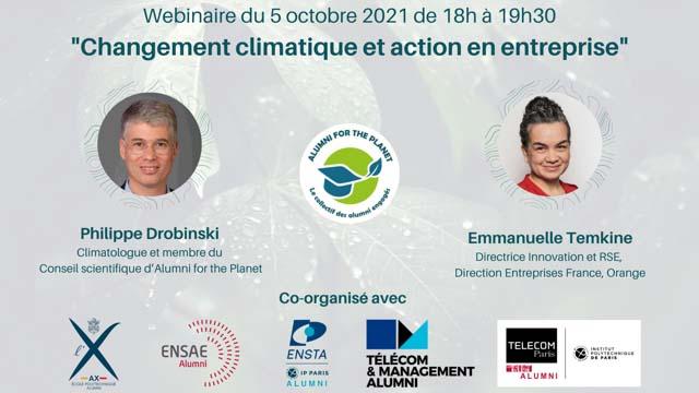 Changement climatique et action en entreprise (webinaire Télécom Paris alumni)